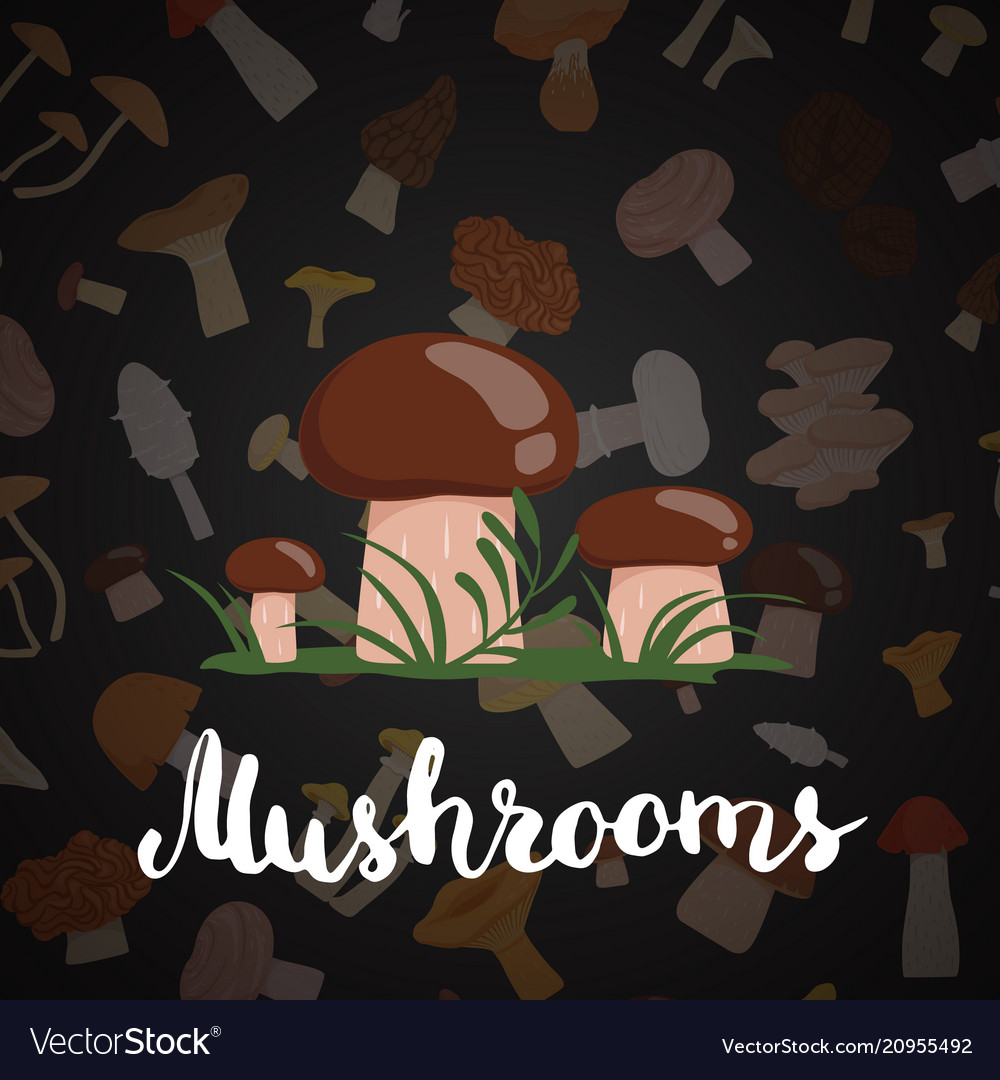 Background with cartoon mushrooms and
