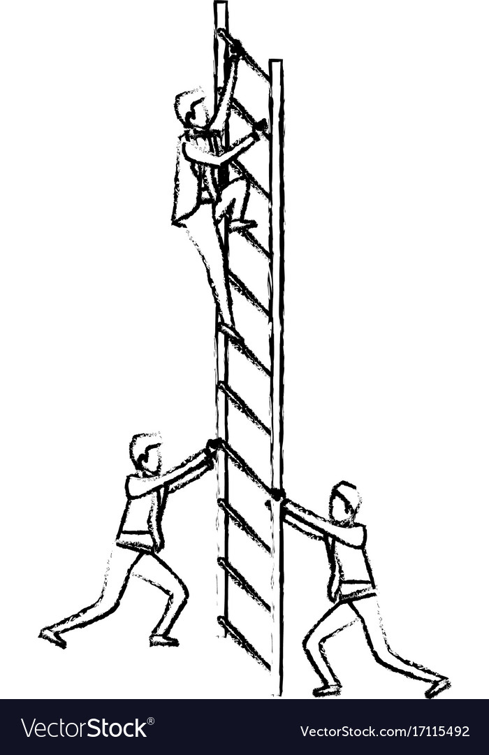 Business men climbing wooden stairs silhouette
