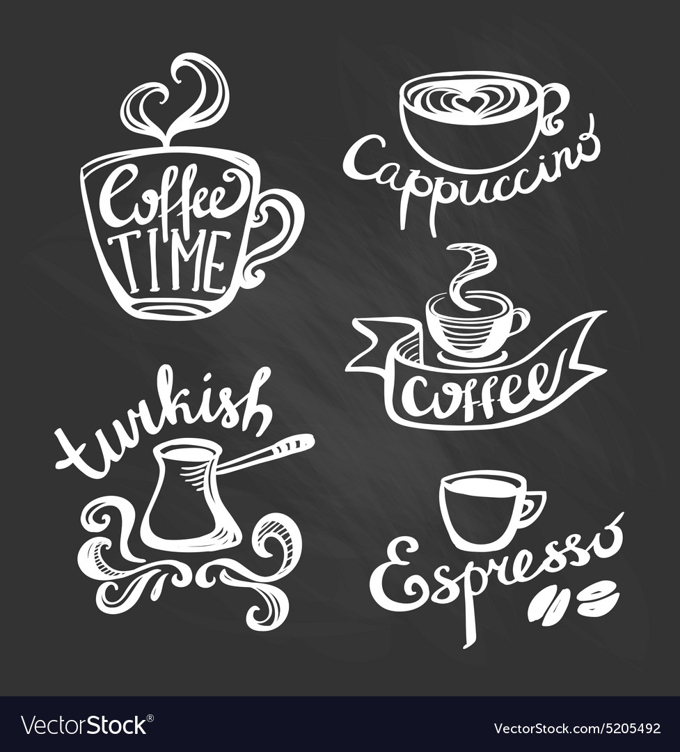 coffee hand drawn labels logo template collection vector image