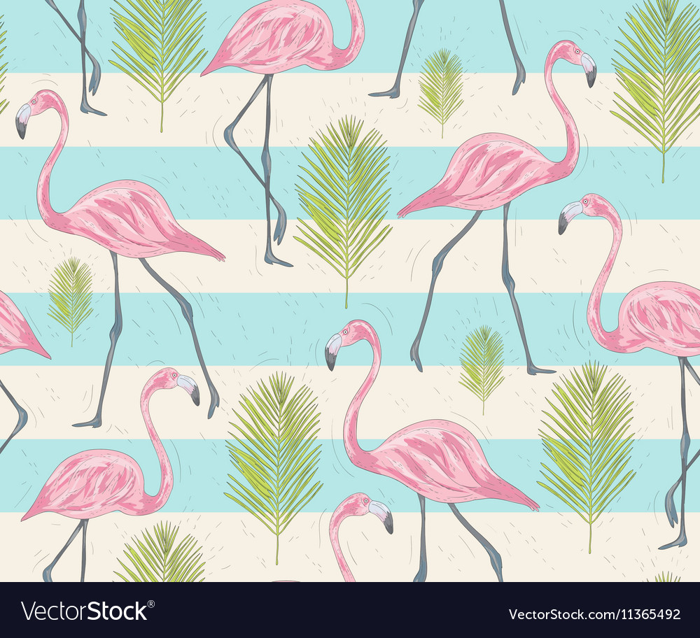 Cute seamless pattern with flamingos and palm