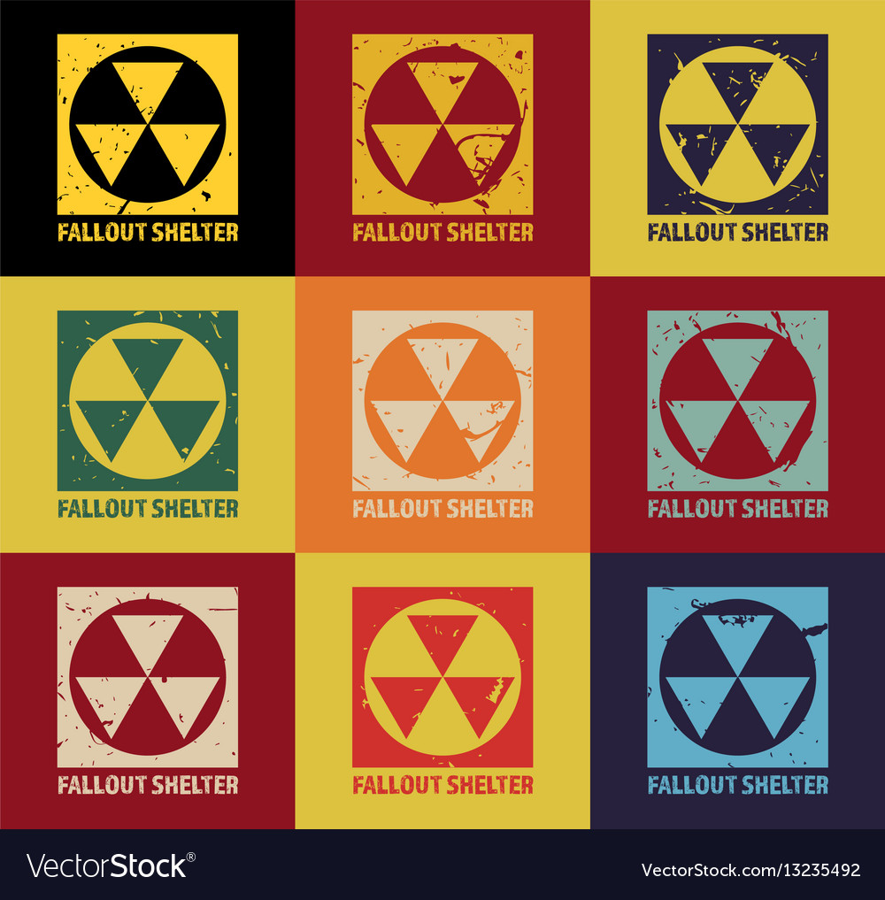 Fallout Shelter Vintage Nuclear Symbol Royalty Free Vector
