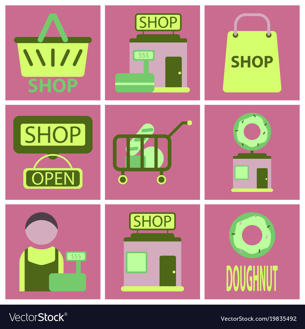 Flat icons set shop vector image