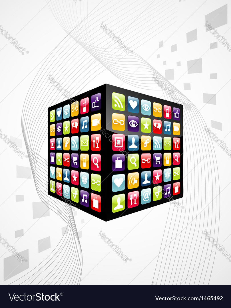 Global mobile phone apps icons cube Royalty Free Vector