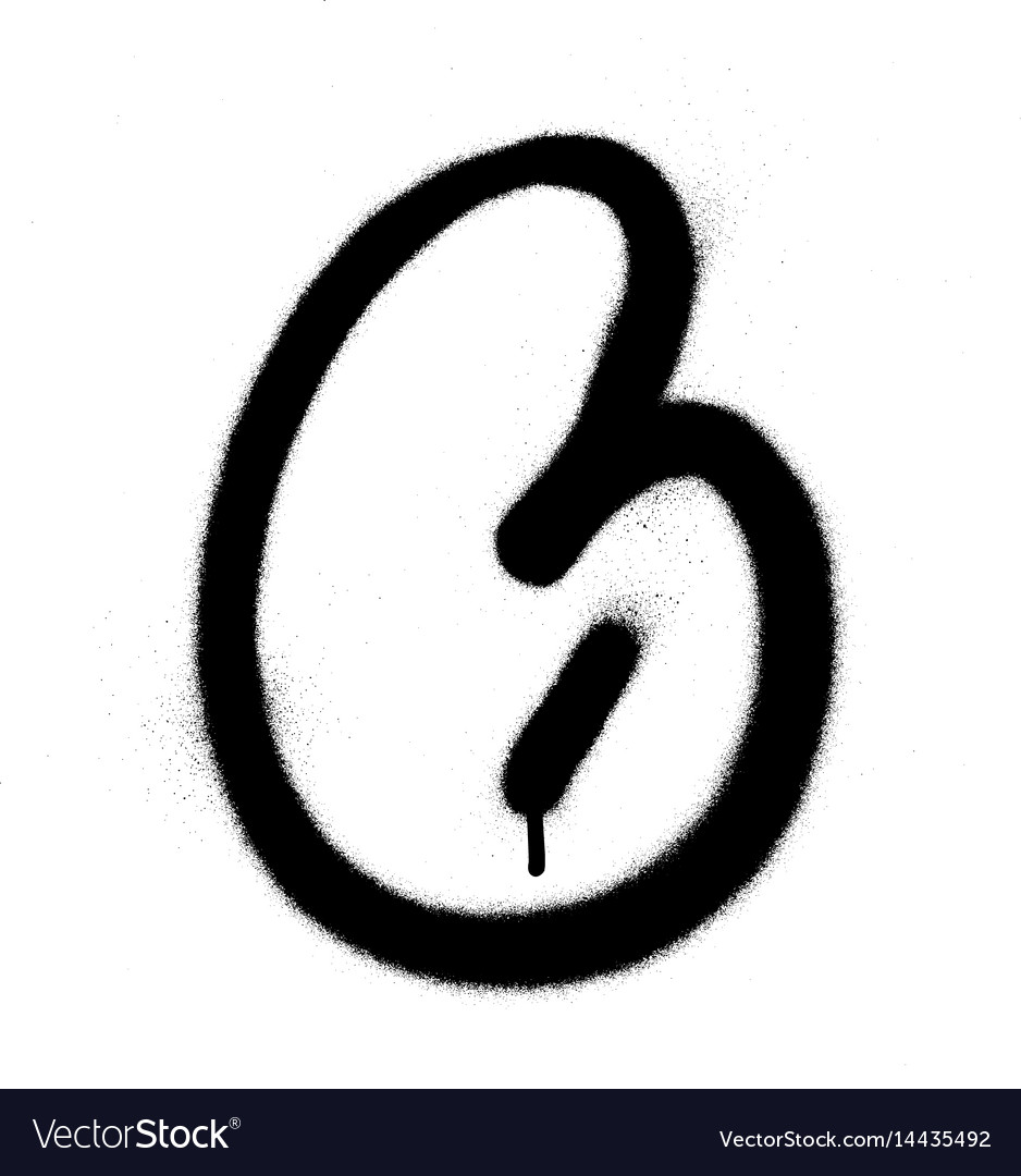 Graffiti bubble font number 6 in black on white vector image
