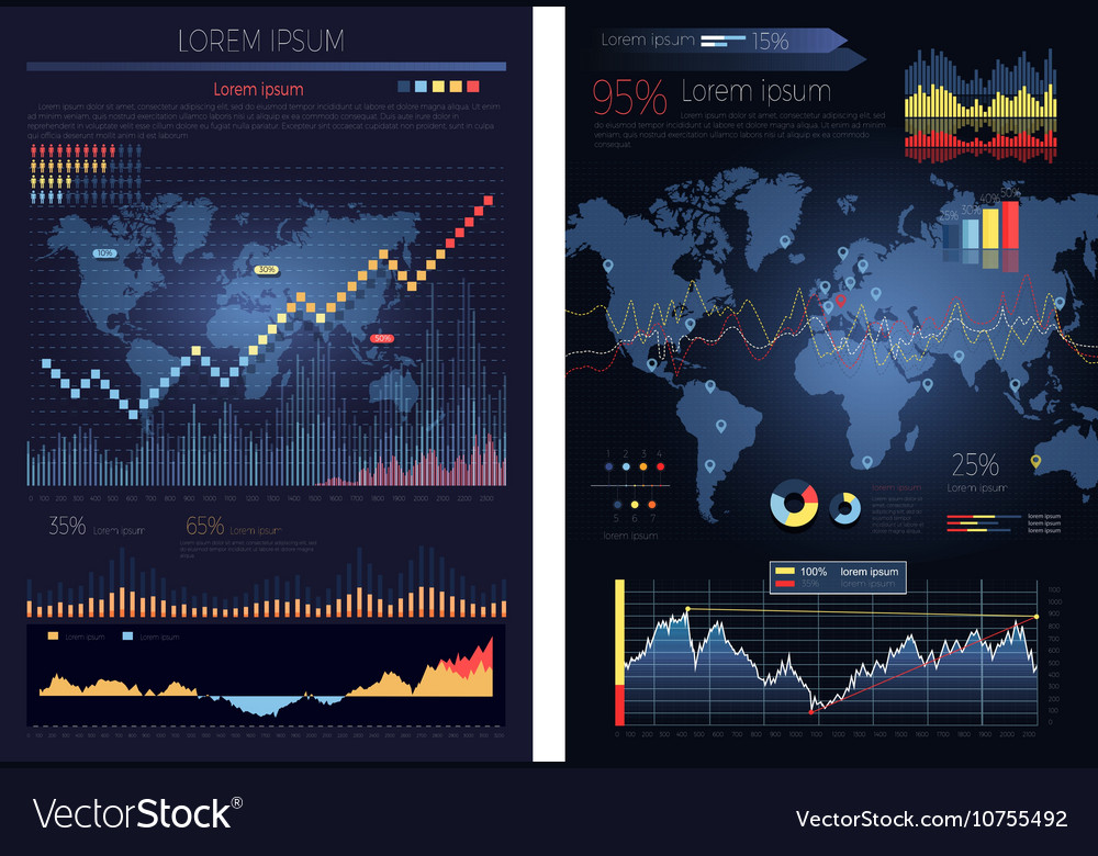Graphic Chart with Map of the World Infographics