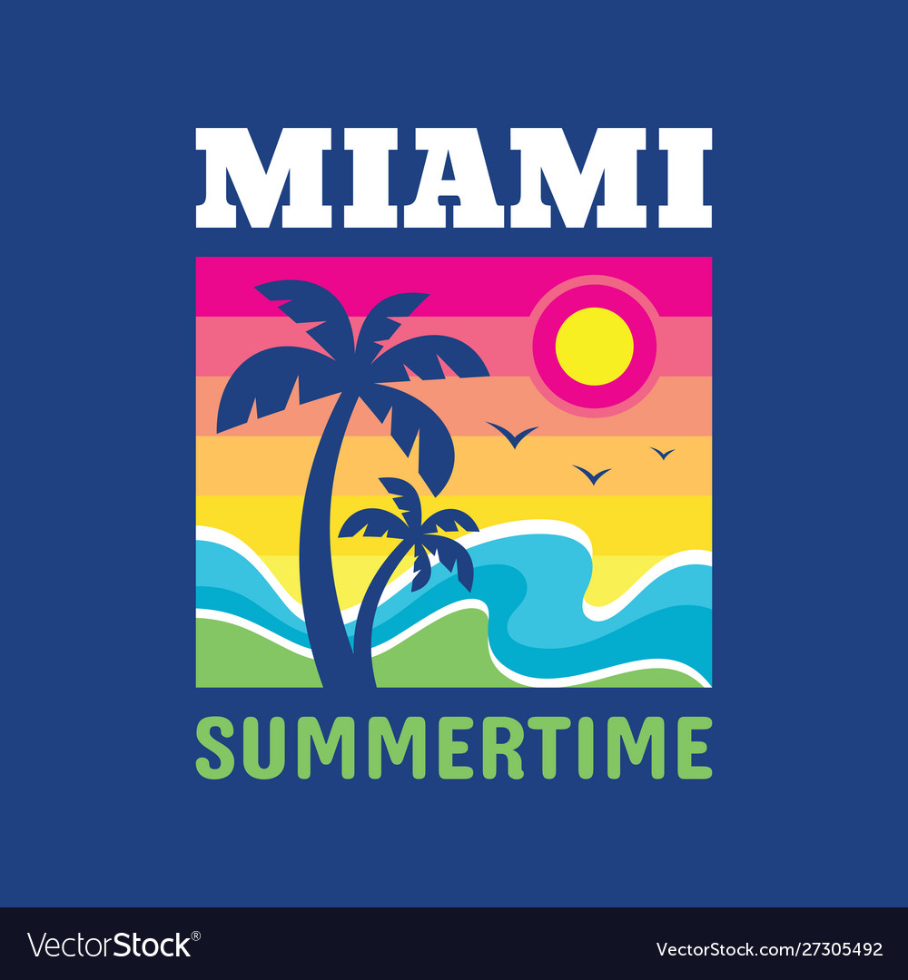 Miami summertime - badge design for t-shirt logo