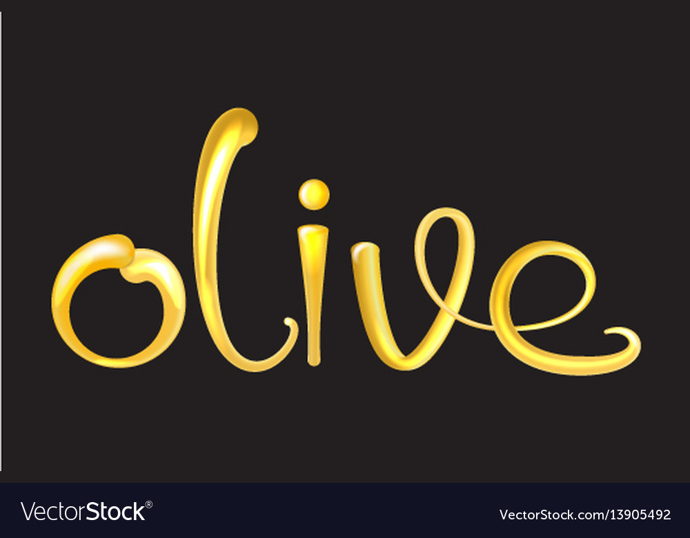 Olive oil liquid text 3d shiny and glossy vector image