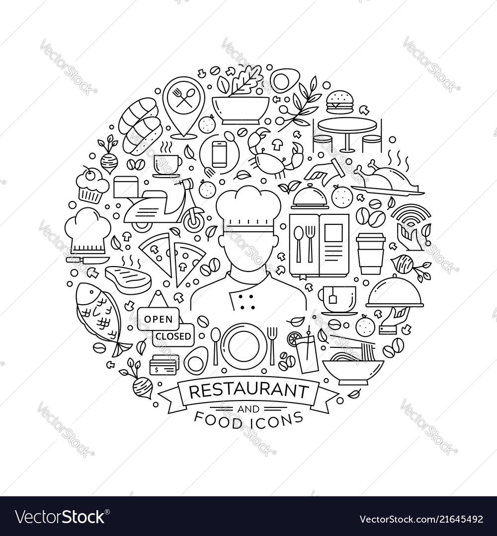 Round design element with restaurant icons