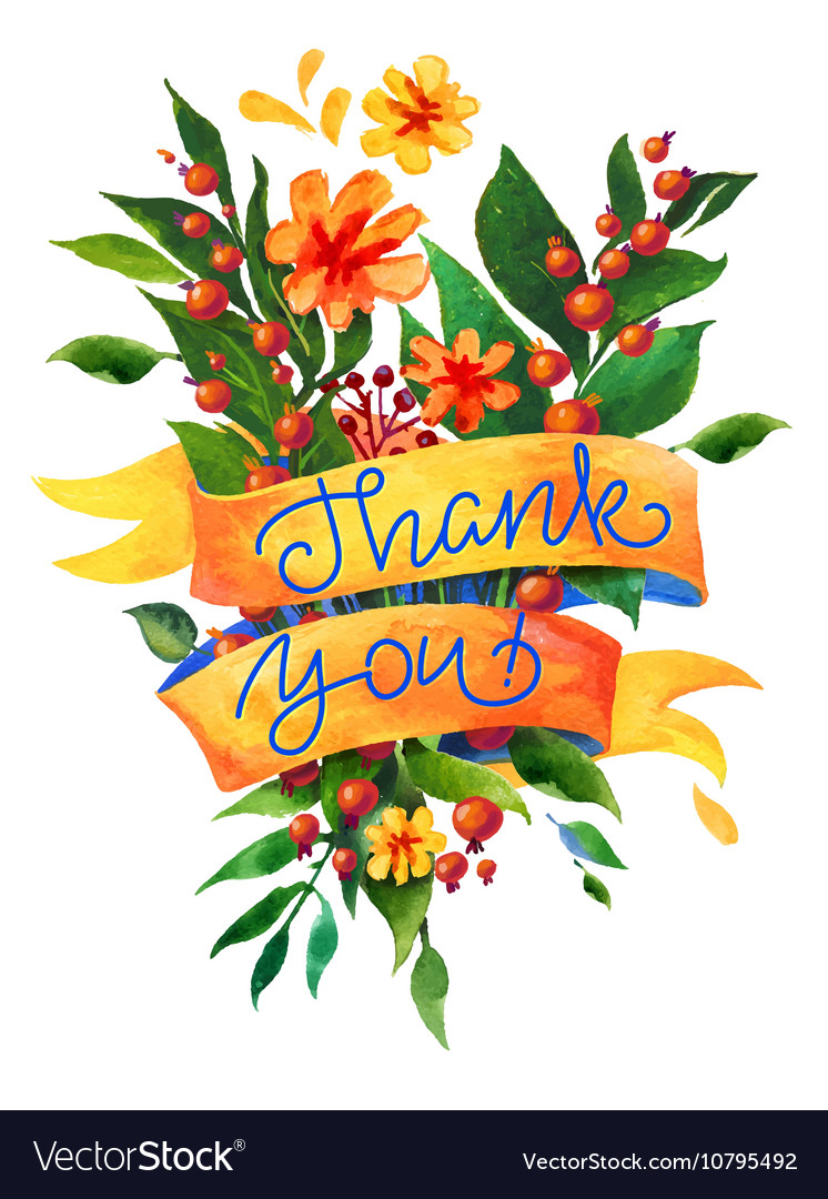 Thank you watercolor flower card
