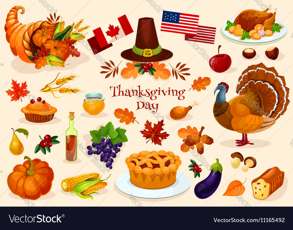 Thanksgiving day isolated icons