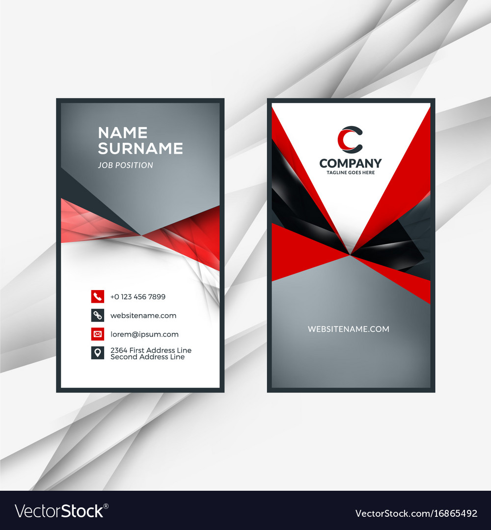 Vertical double sided red and black business card vector image reheart Images