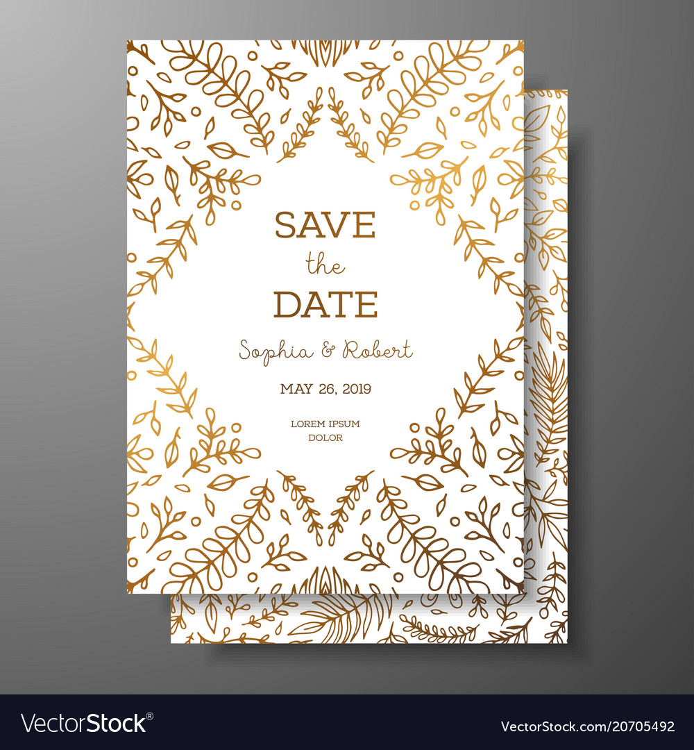 Wedding vintage invitationsave date card vector