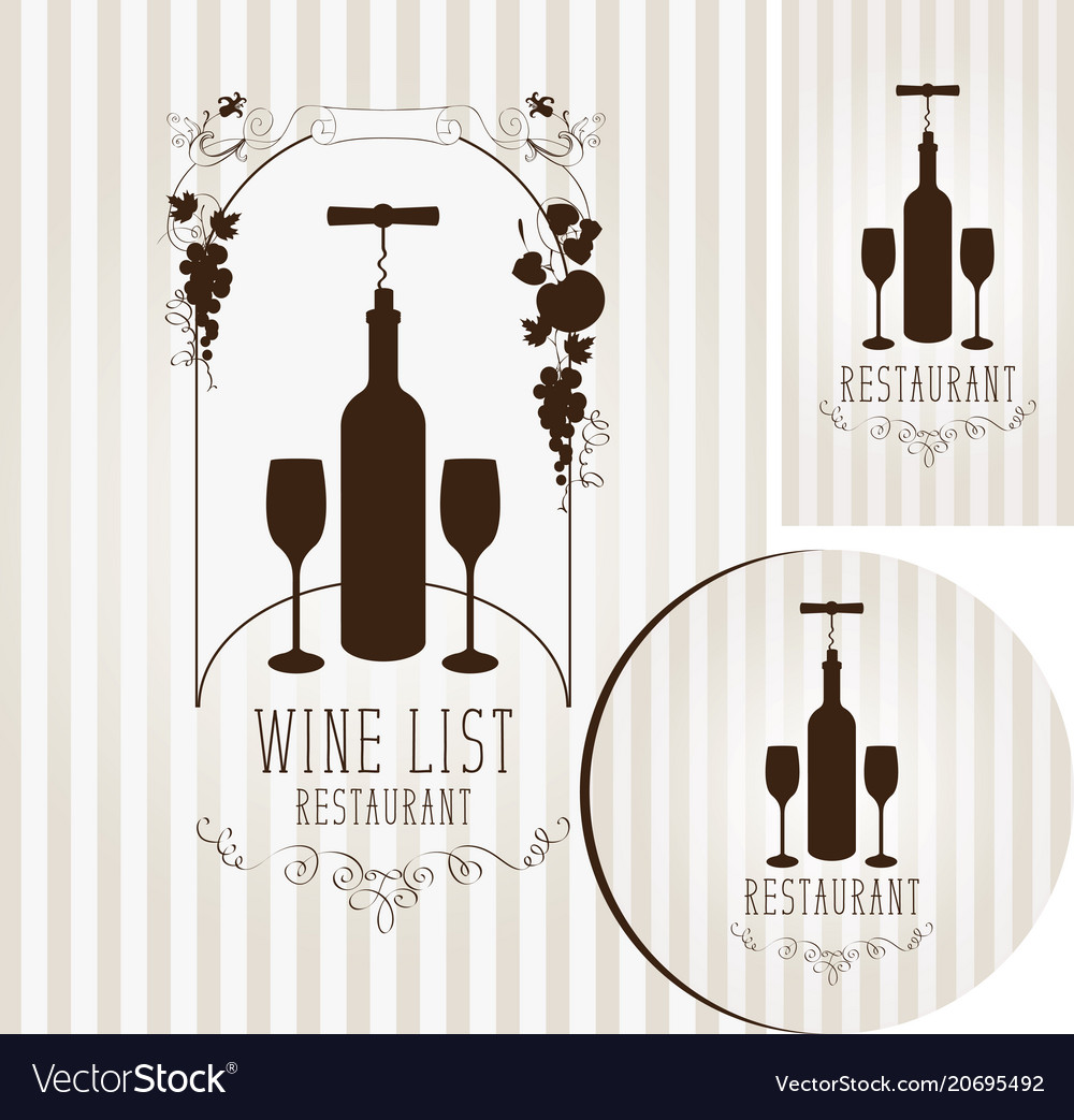 Wine set of elements for design of restaurant