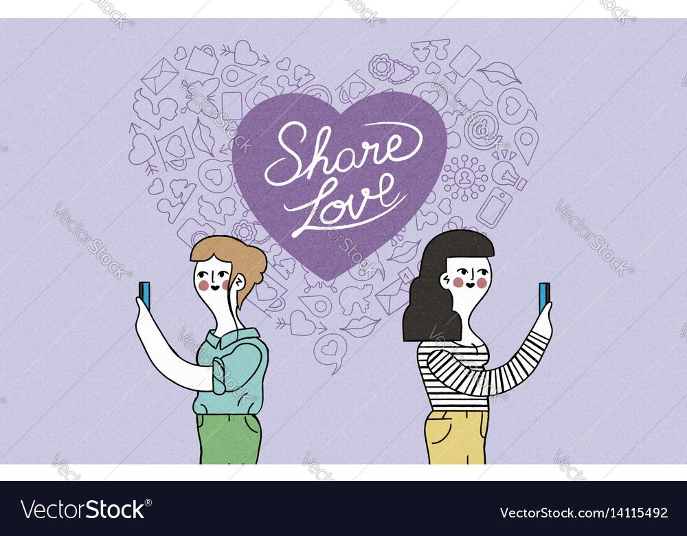 Women couple on phone internet love vector image