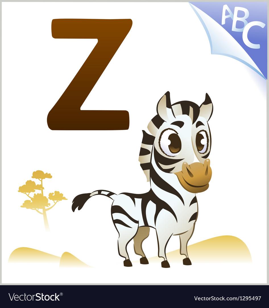 Animal alphabet for the kids Z for the Zebra