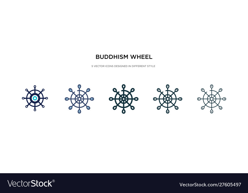 Buddhism wheel icon in different style two