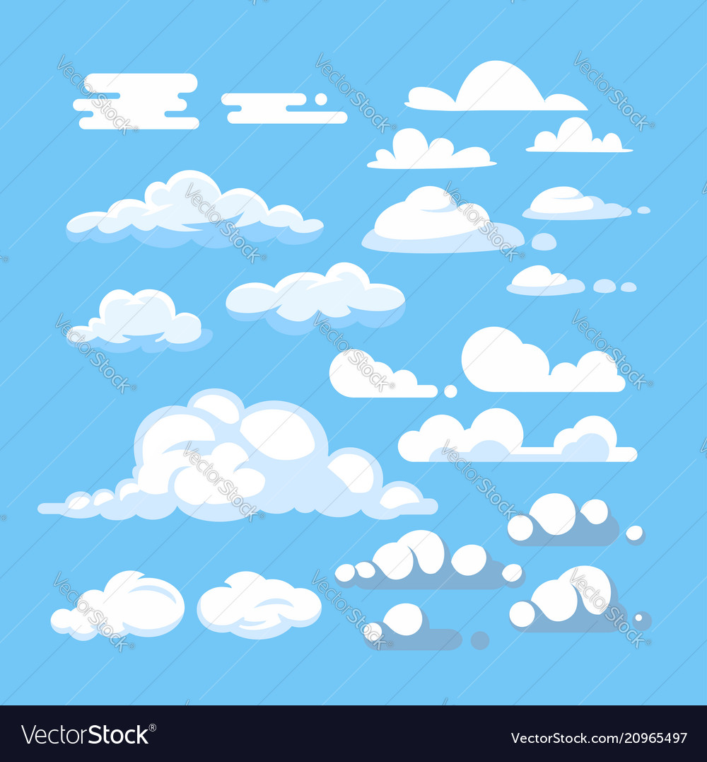 Cartoon cloud set
