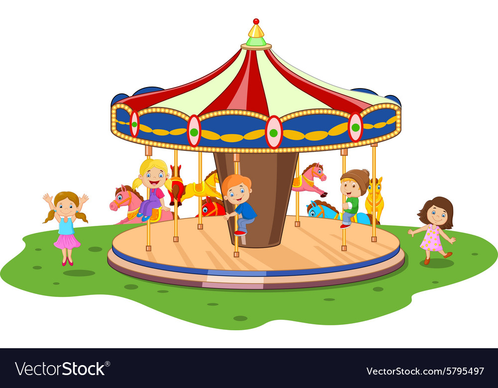 Cartoon little kid playing game carousel with colo