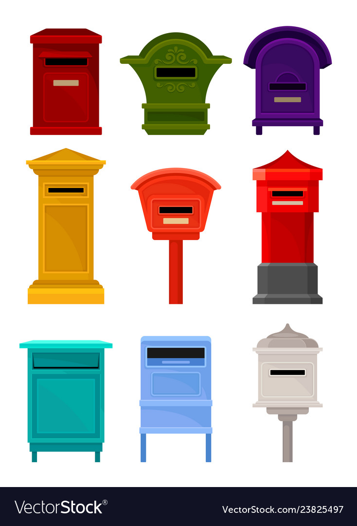 Flat set of mailboxes colorful containers