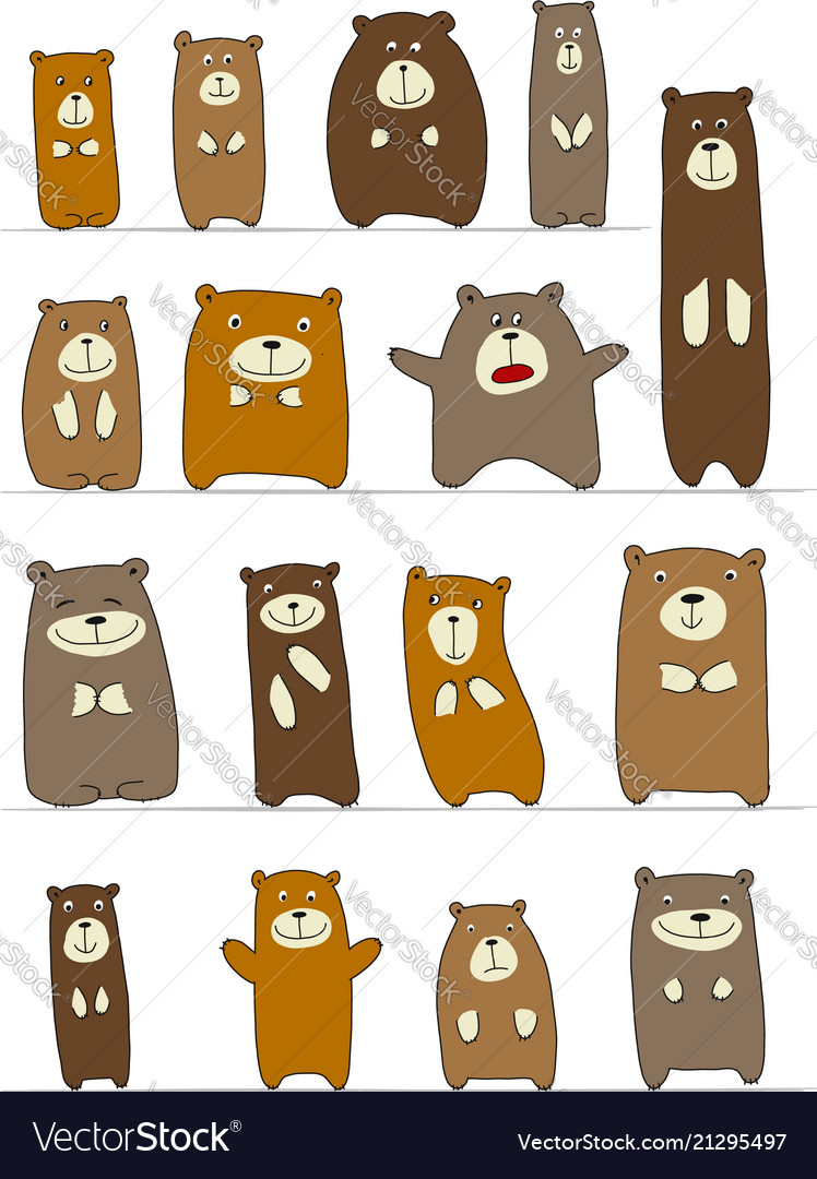 Funny bears collection sketch for your design