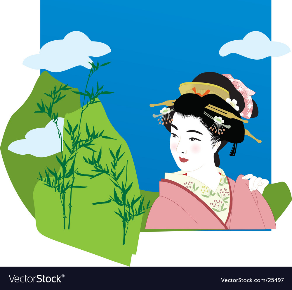 Geisha in the mountains vector image