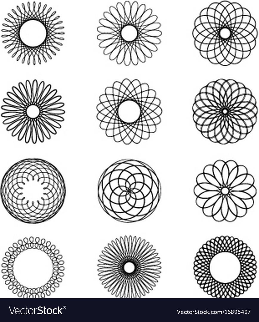 Geometric circular ornament spirograph flower draw