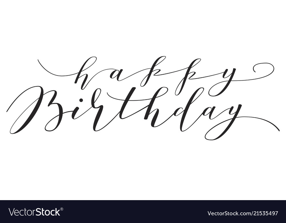 happy birthday hand lettering lettering happy birthday royalty free vector image 22082 | hand lettering happy birthday vector 21535497