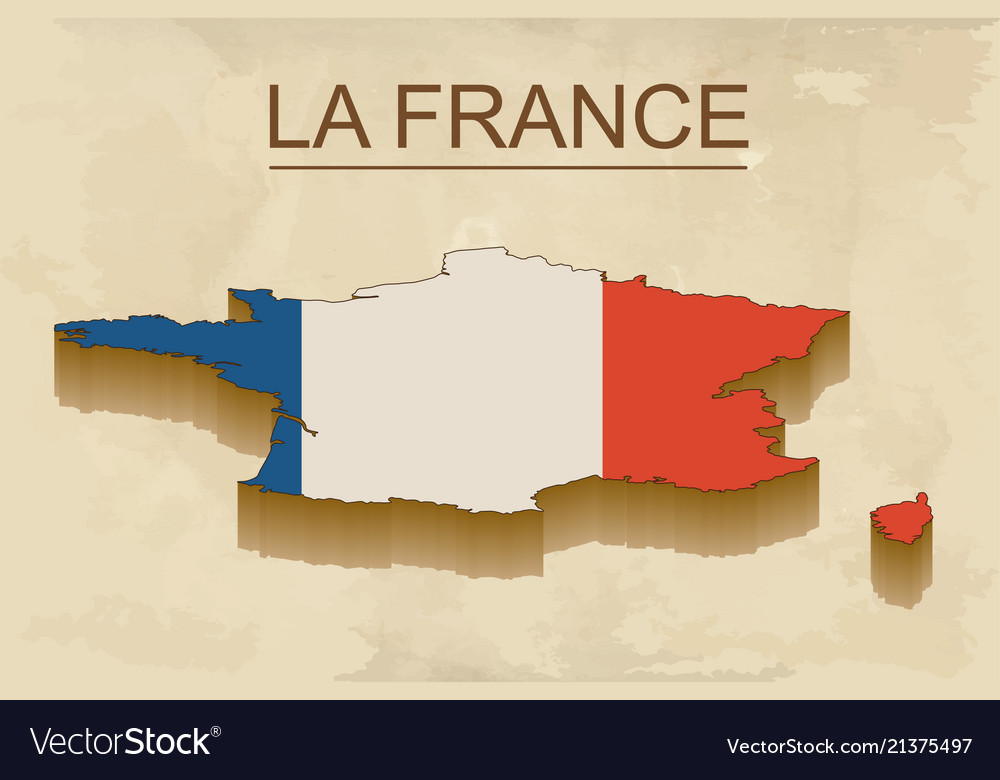 Isometric map of france with flag isolated 3d