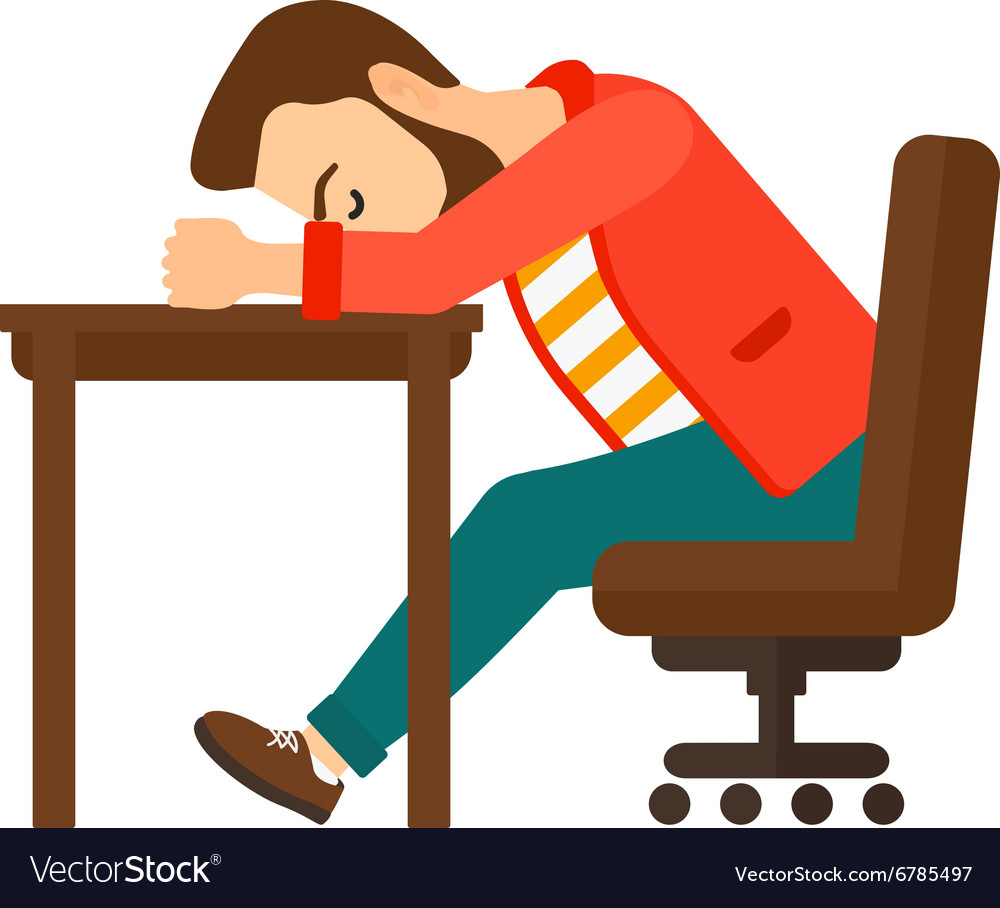 Man sleeping on table vector image