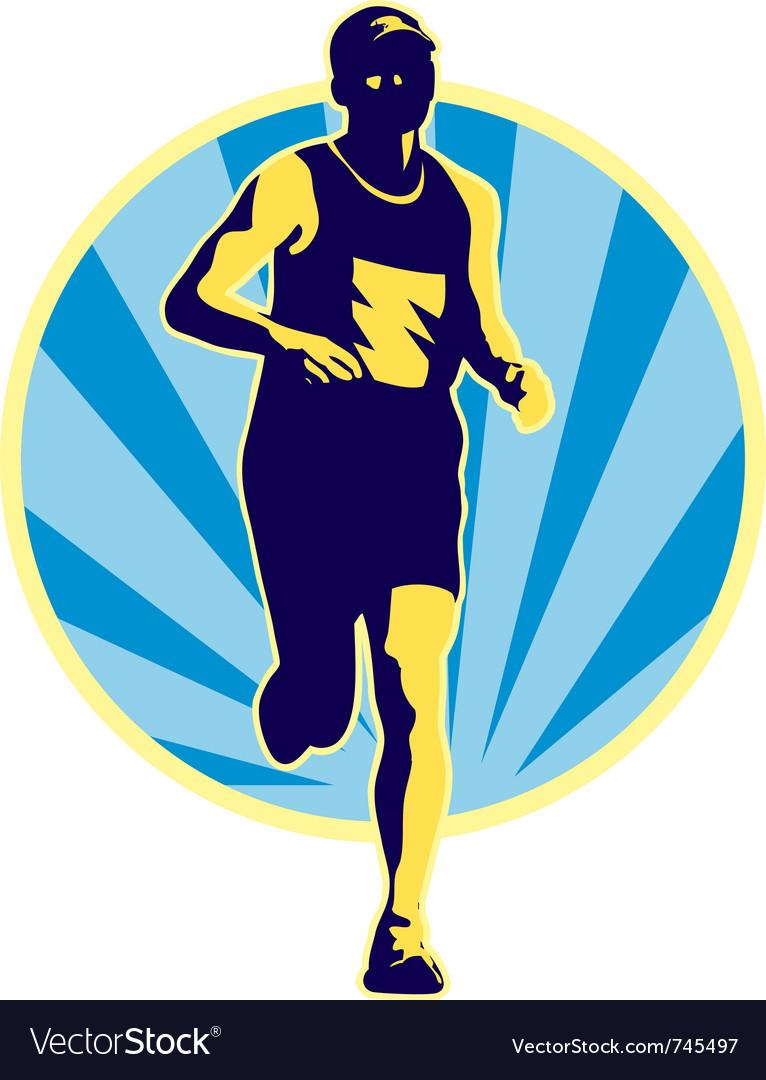 Marathon runner running jogging vector image