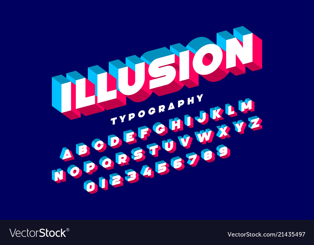 Modern bold 3d font alphabet letters and numbers