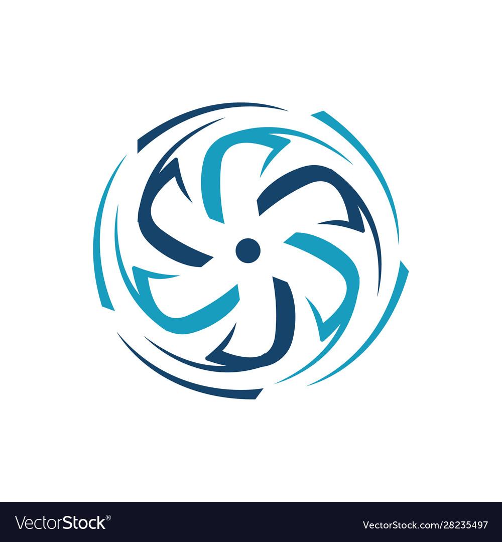 New abstract water wind turbine logo design