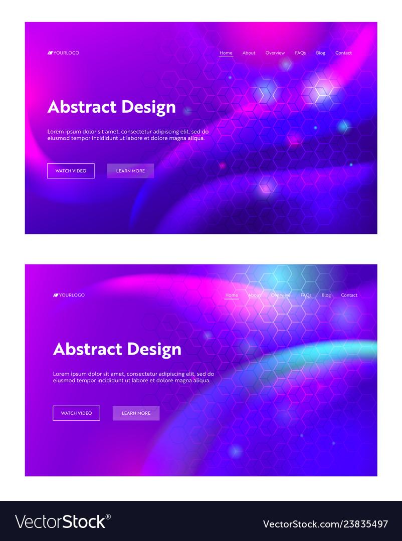 Purple abstract geometric hexagon shape web page