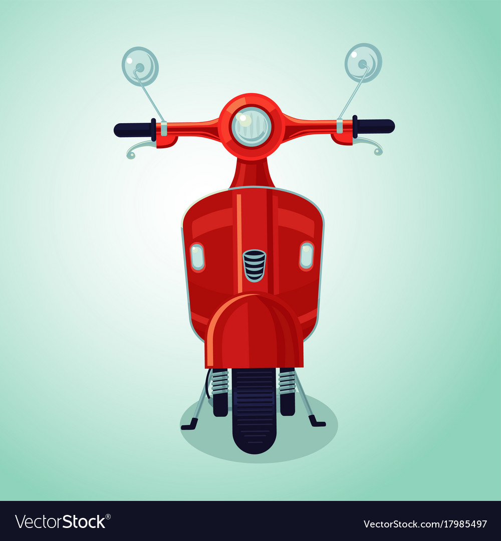 Red vintage moto scooter isolated cartoon