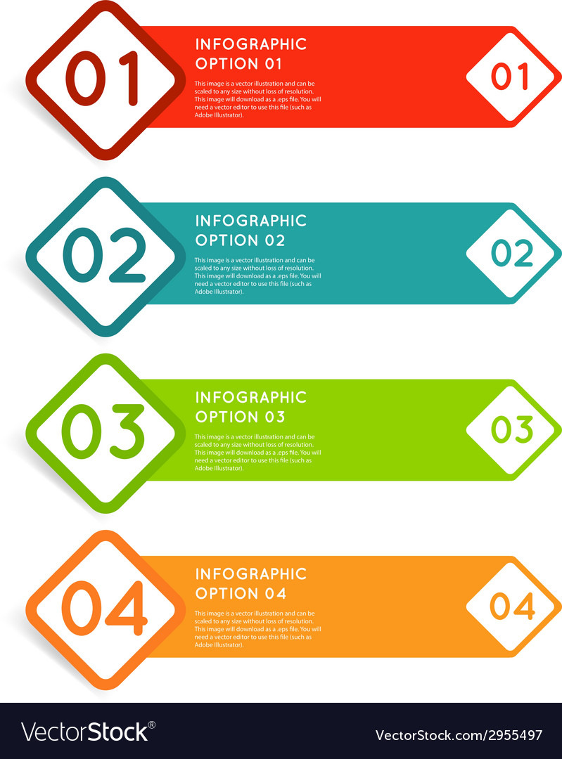 Rounded squares infographics options banner vector image