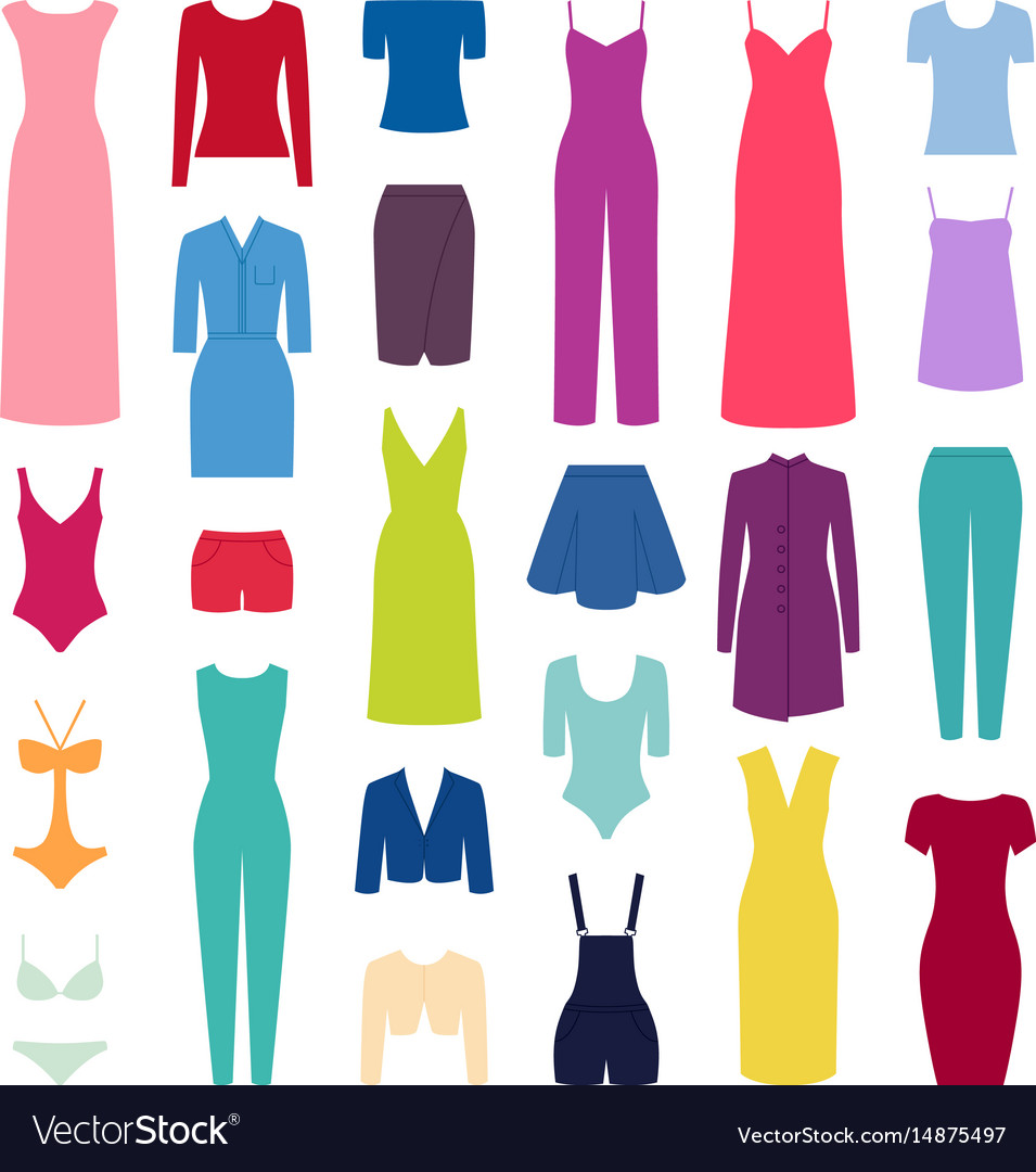 Set of woman clothes icons
