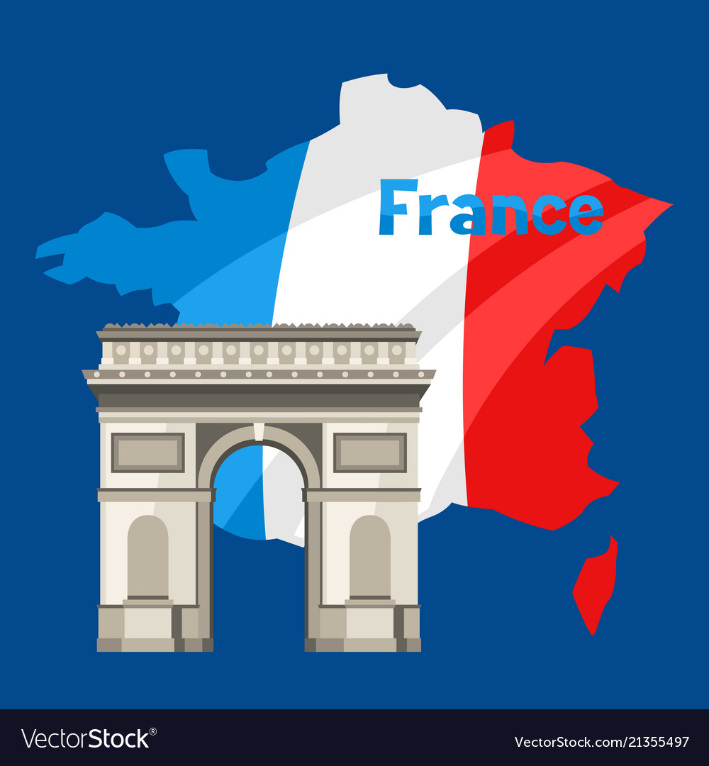 Triumphal arch on map of france