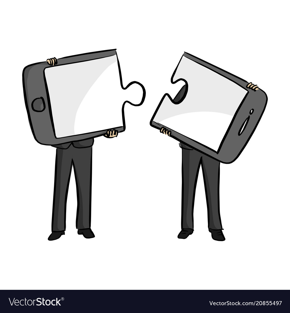 Two businessmen connecting mobile phone puzzle