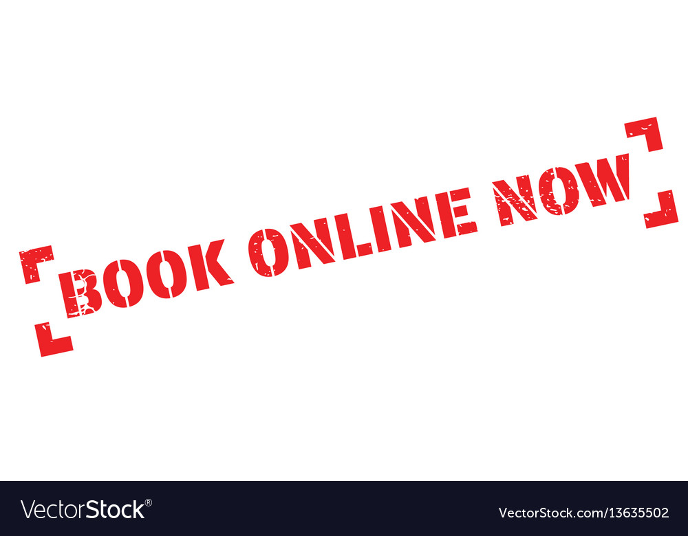 Book online now rubber stamp