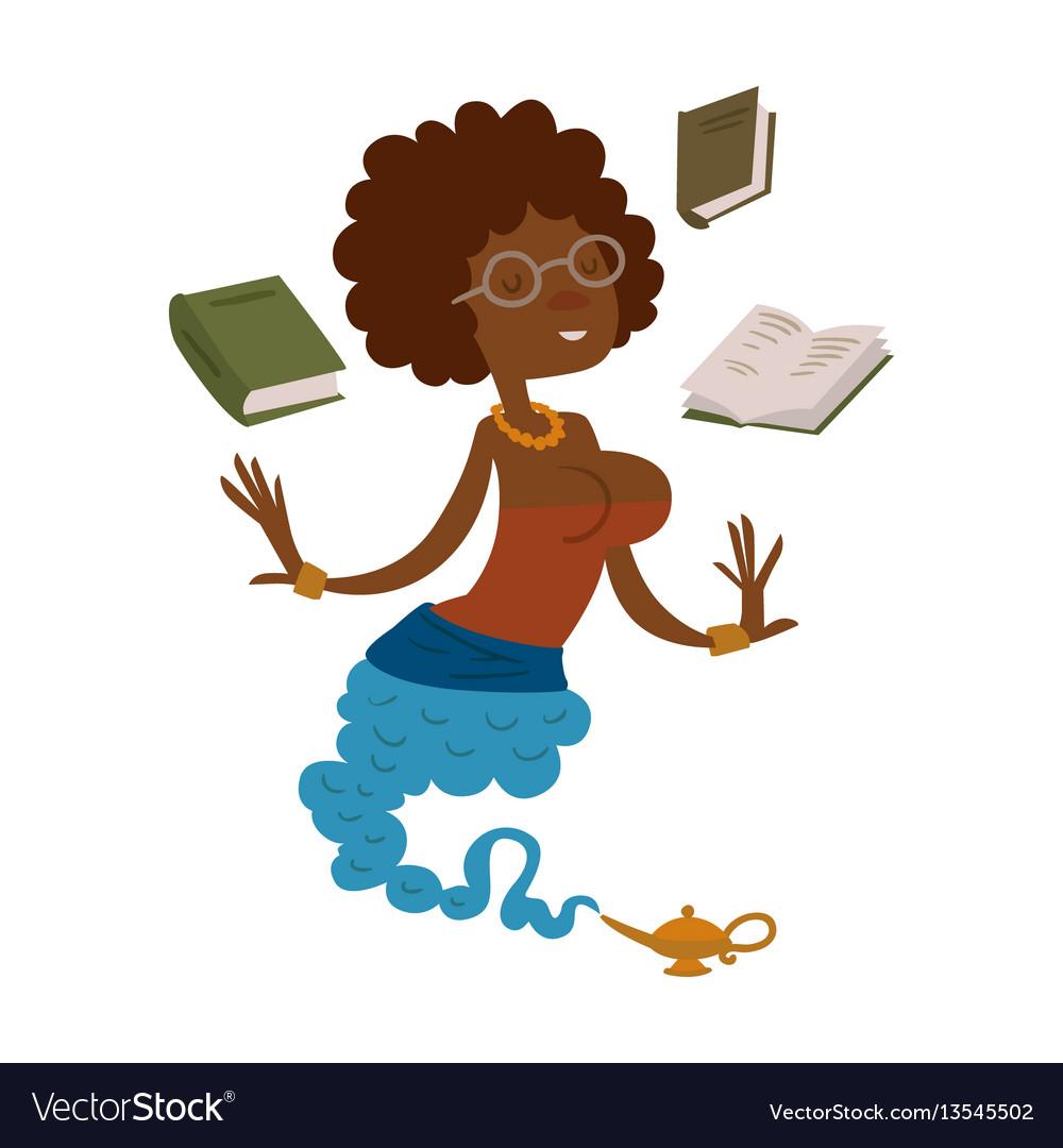 Cartoon genie beautiful teacher character magic
