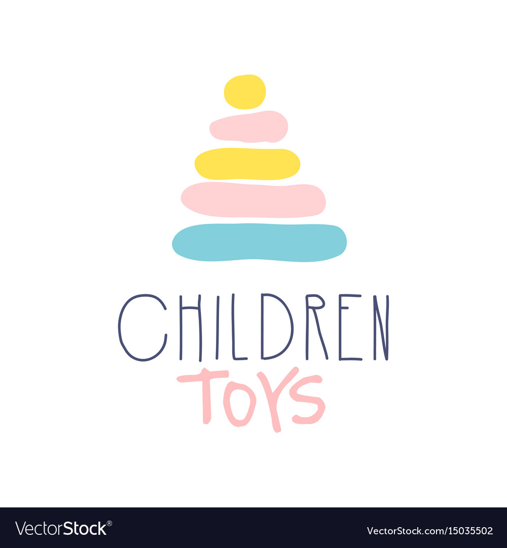 Children Toys Logo Colorful Hand Drawn Royalty Free Vector