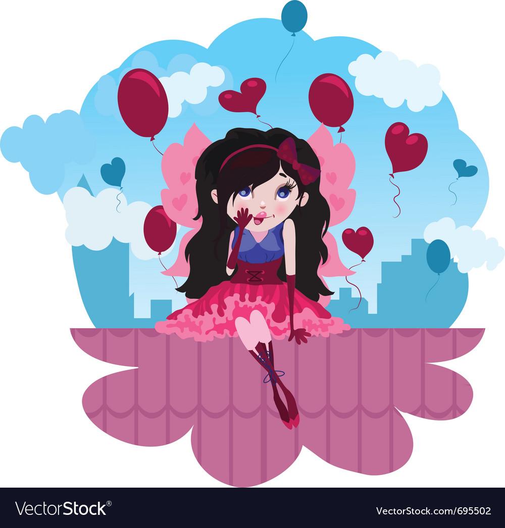 Cute love fairy cartoon vector image