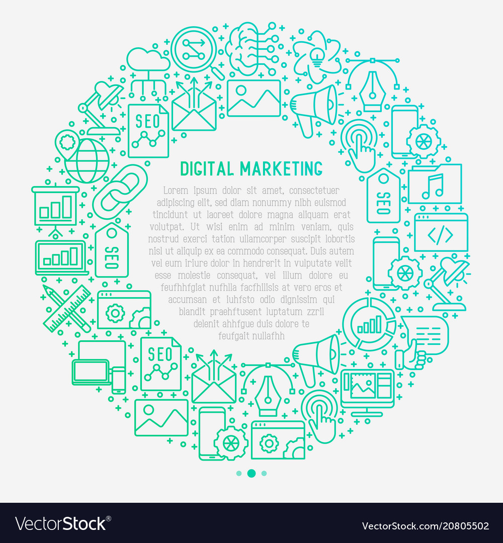 Digital marketing concept in circle