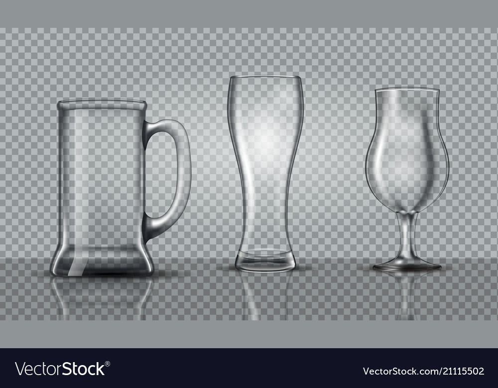 Empty beer glasses mockup vector image