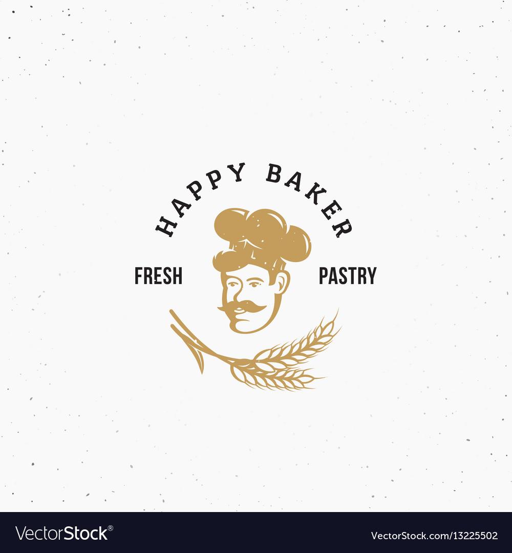 Happy baker premium pastry emblem sign or