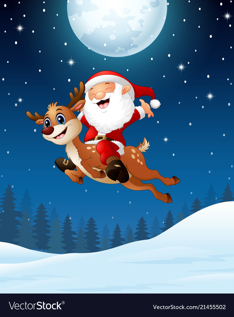 Happy santa claus riding a reindeer in the night b
