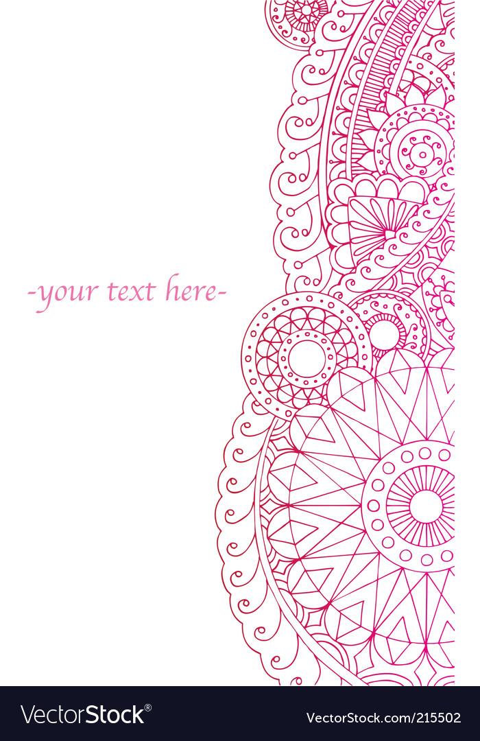 Henna ink border vector image