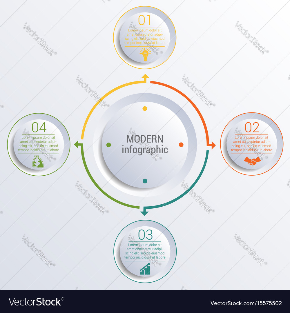 Infographic diagram with 4 options circles