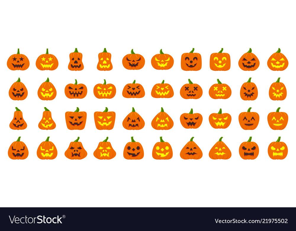 Jack o lantern simple flat color icons set