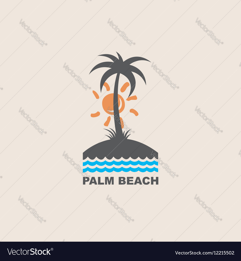 Label with palm tree